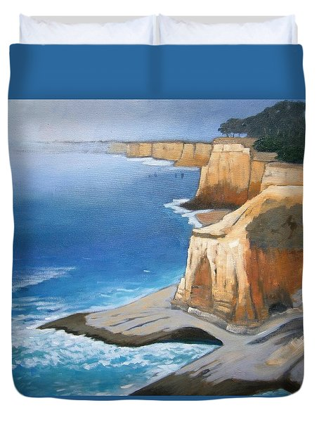 Duvet Cover featuring the painting Fog Burning Off by Gary Coleman