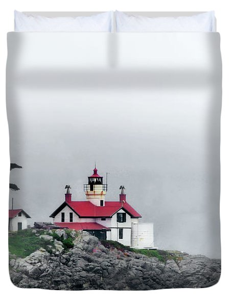 Fog Comes Rolling In - Battery Point Lighthouse - Crescent City Ca Duvet Cover by Christine Till
