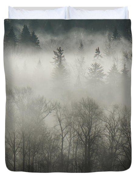 Duvet Cover featuring the photograph Fog Enshrouded Forest by Lisa Knechtel