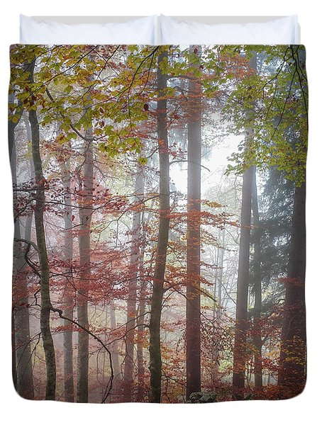 Fog In Autumn Forest Duvet Cover