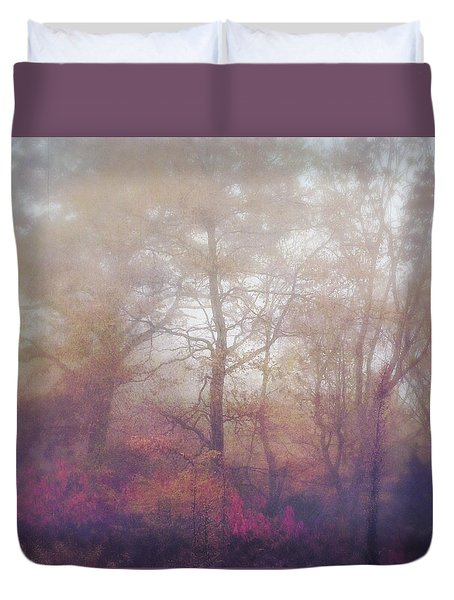 Fog In Autumn Mountain Woods Duvet Cover