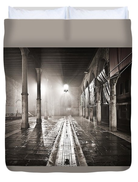 Fog In The Market Duvet Cover