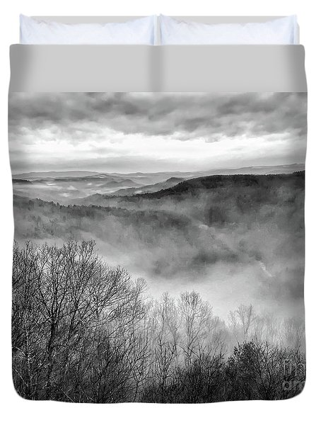 Duvet Cover featuring the photograph Fog In The Mountains - Pipestem State Park by Kerri Farley