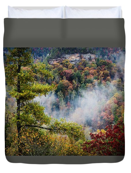 Fog In The Valley Duvet Cover by Diana Boyd