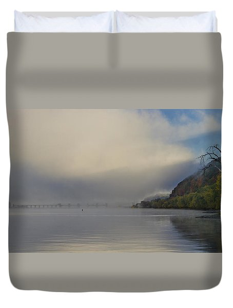 Fog On Mississippi River Duvet Cover