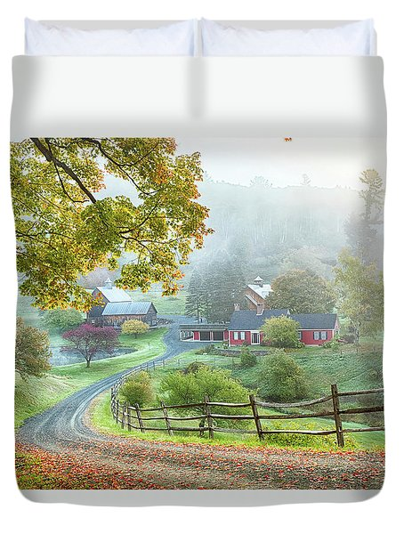 Fog On Sleepy Hollow Farm Duvet Cover