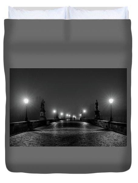 Duvet Cover featuring the photograph Fog On The Charles Bridge - Prague by Stuart Litoff