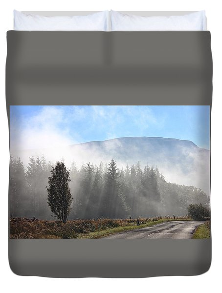 Fog On The Road To Fintry Duvet Cover