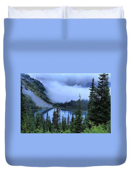Fog Over Louise Lake Duvet Cover by Lynn Hopwood