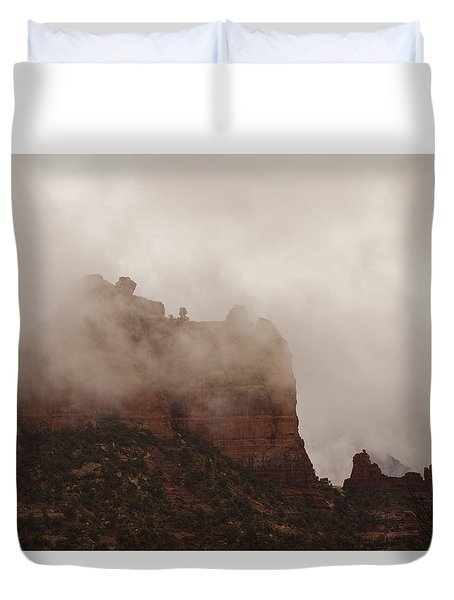Duvet Cover featuring the photograph Fog Over Snoopy Rock by Tom Kelly