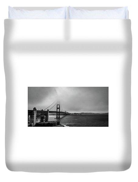 Fog Over The Golden Gate Bridge Duvet Cover