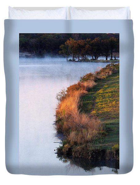 Fog Over The Lake Duvet Cover