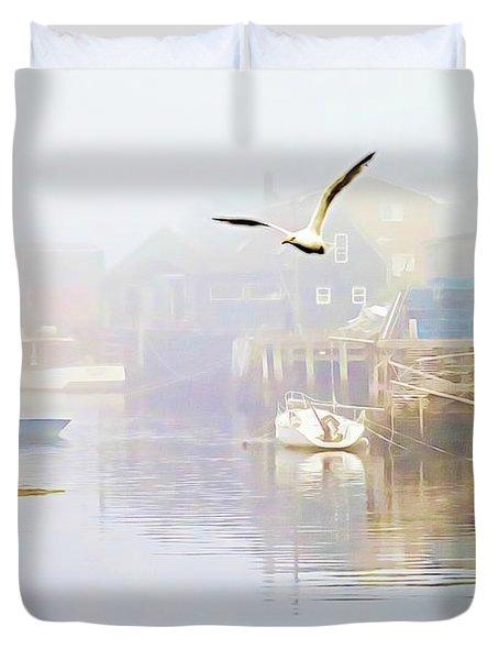 Fog Over West Dover - Digital Paint Duvet Cover
