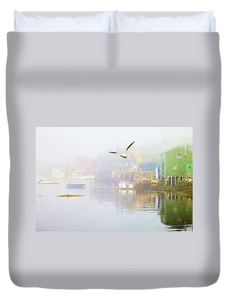 Fog Over West Dover - Digital Paint Duvet Cover