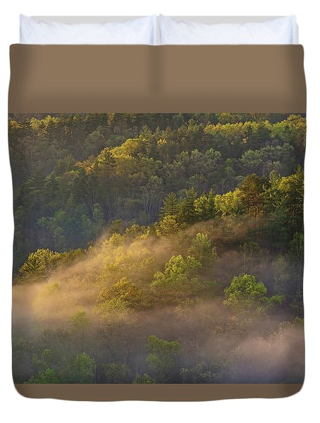 Fog Playing In The Forest Duvet Cover by Ulrich Burkhalter