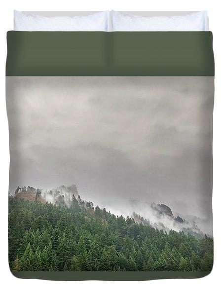 Fog Rolling Over Columbia River Gorge Duvet Cover