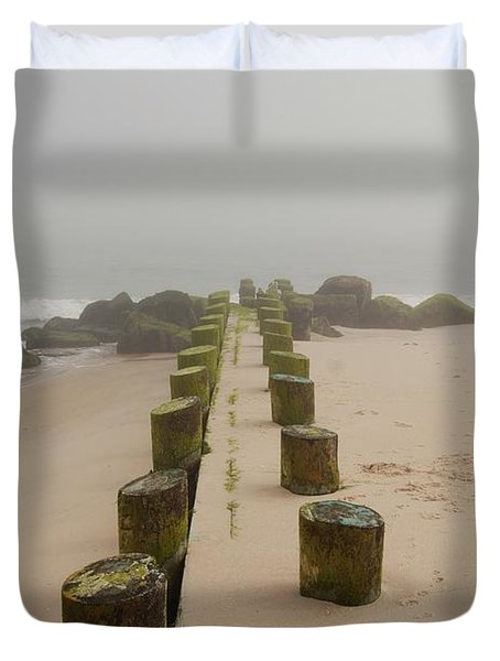 Fog Sits On Bay Head Beach - Jersey Shore Duvet Cover