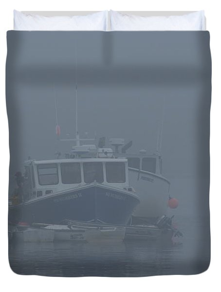 Fogged In At Owls Head Duvet Cover