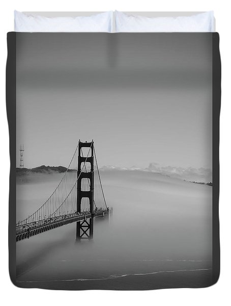 Duvet Cover featuring the photograph Fogging The Bridge by David Bearden