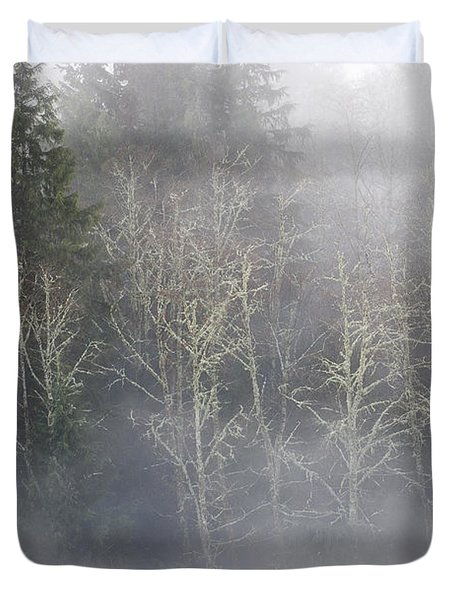Foggy Alders In The Forest Duvet Cover