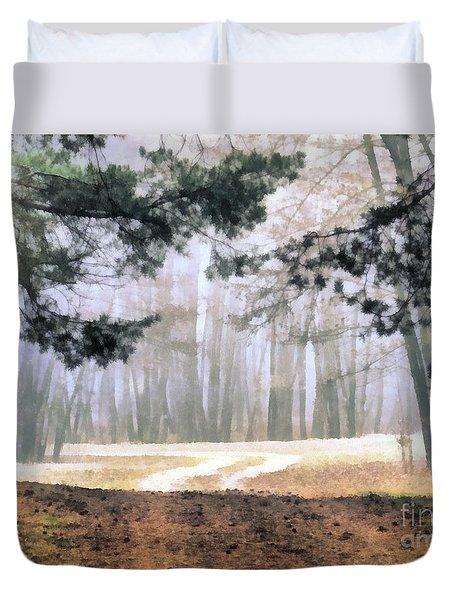 Foggy Autumn Landscape Duvet Cover by Odon Czintos