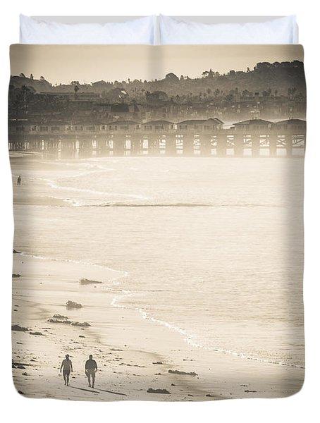 Foggy Beach Walk Duvet Cover