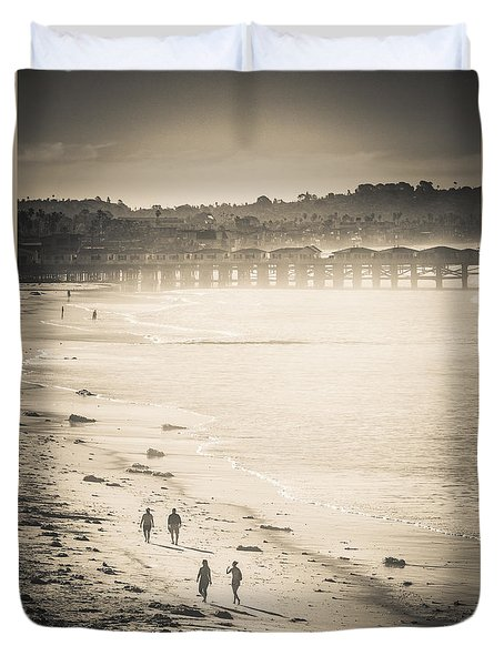 Duvet Cover featuring the photograph Foggy Beach Walk by T Brian Jones