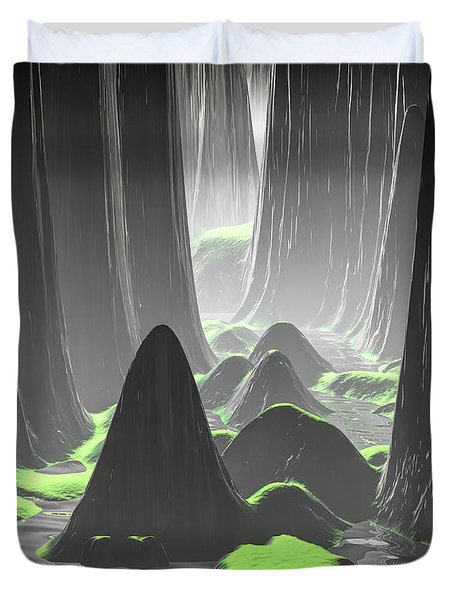 Foggy Canyon Walls Duvet Cover