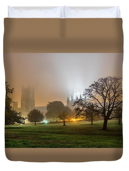Duvet Cover featuring the photograph Foggy Cathedral by James Billings