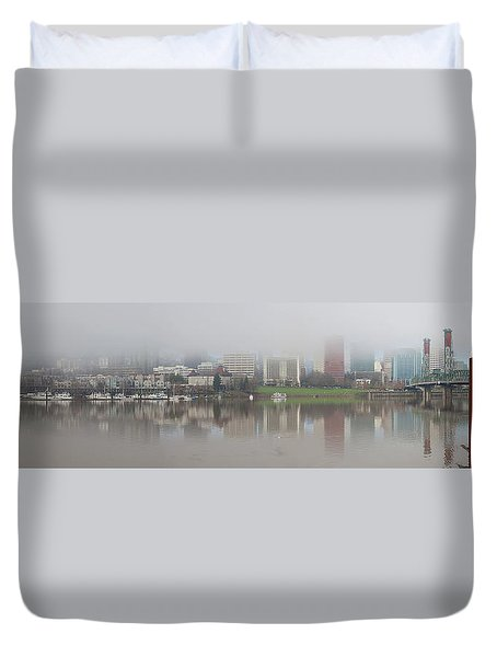 Foggy Day Along Portland Waterfront Panorama Duvet Cover