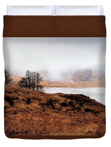 Foggy Day At Loch Arklet Duvet Cover