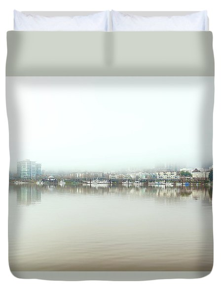 Foggy Day On Portland Downtown Waterfront Duvet Cover
