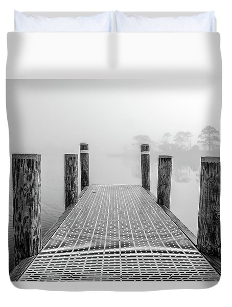 Duvet Cover featuring the photograph Foggy Dock In Alabama  by John McGraw