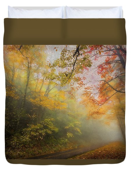 Foggy Fall Foliage II Duvet Cover by Dan Carmichael