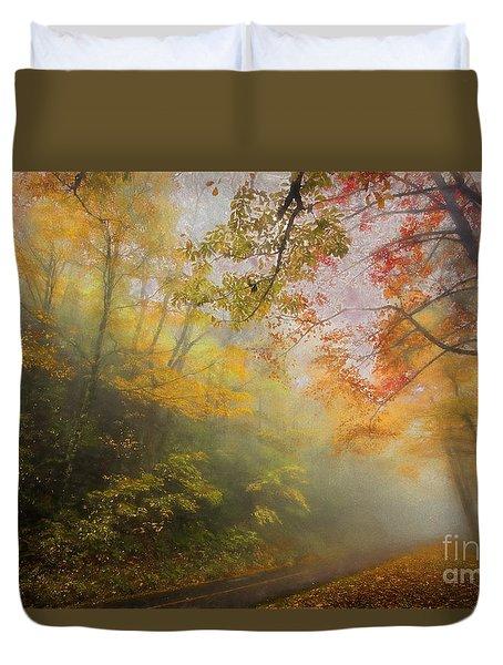 Foggy Fall Foliage II Duvet Cover