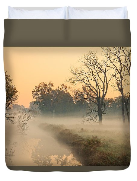 Foggy Fall Morning On Gary Avenue Duvet Cover