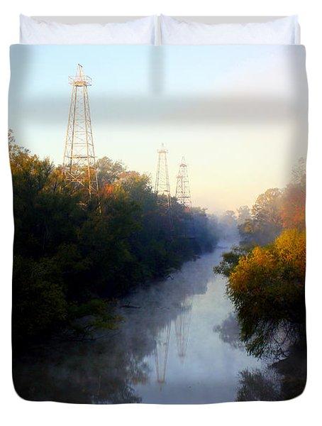 Foggy Fall Morning On The Sabine River Duvet Cover