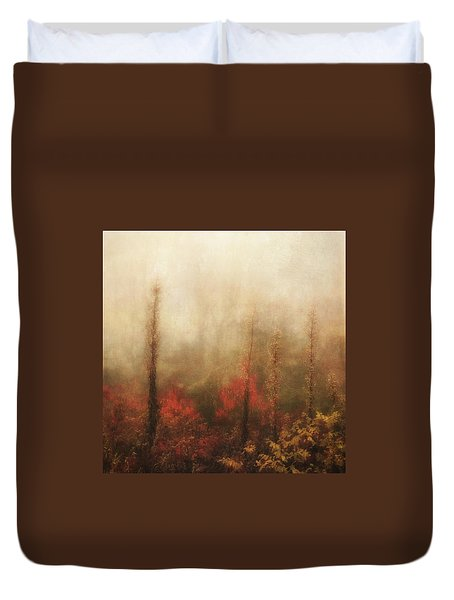 Foggy Fall On The Parkway Duvet Cover