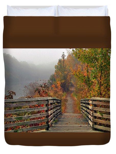 Foggy Fall Trail Duvet Cover
