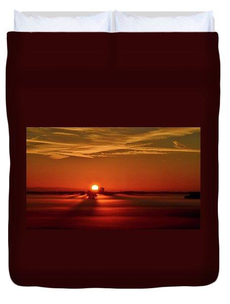 Foggy Farmlands Sunrise Duvet Cover