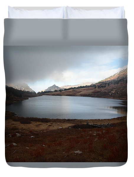 Foggy Favre Lake Duvet Cover
