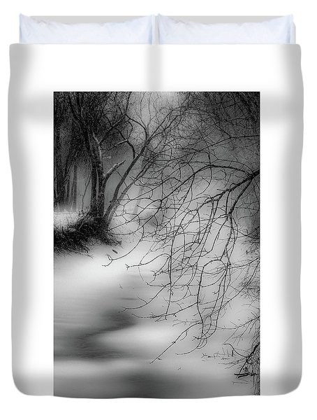 Duvet Cover featuring the photograph Foggy Feeder by Kendall McKernon