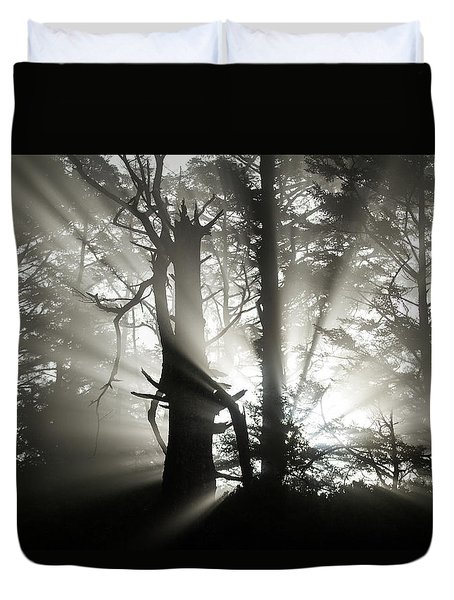 Duvet Cover featuring the photograph Foggy Flares by Wesley Aston