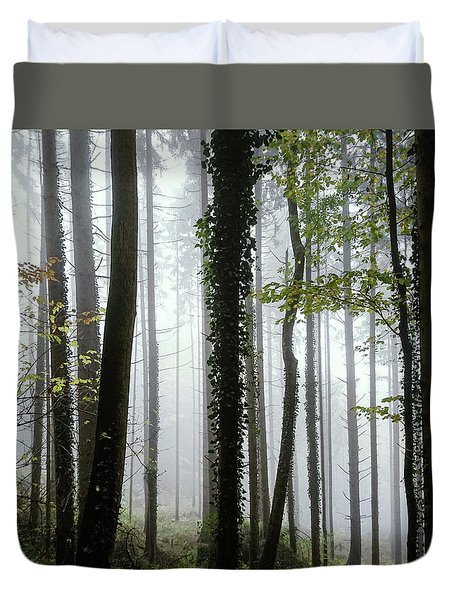 Duvet Cover featuring the photograph Foggy Forest by Chevy Fleet