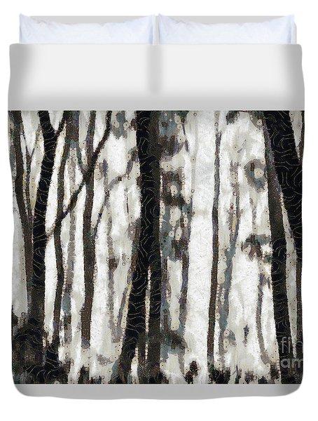 Foggy Forest Tree Paint Duvet Cover