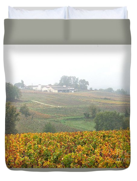 Foggy French Vineyard Duvet Cover