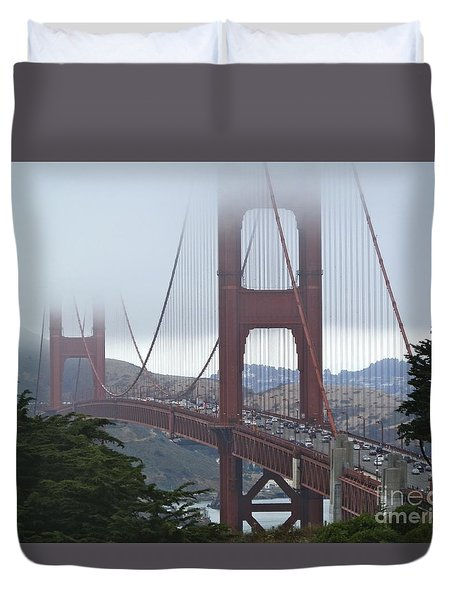 Foggy Golden Gate Duvet Cover