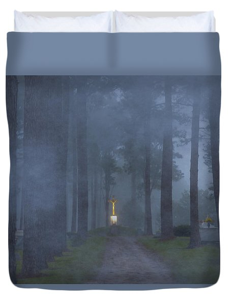 Foggy Hallowed Ground Duvet Cover by Kimo Fernandez