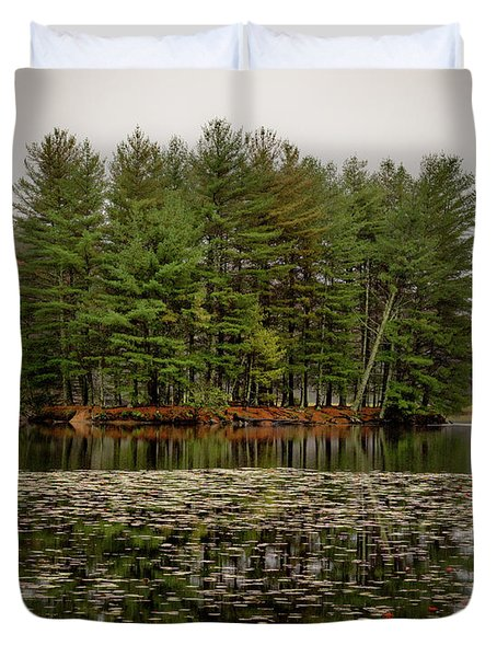 Foggy Island Reflections Duvet Cover