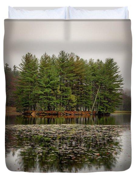 Foggy Island Reflections Duvet Cover